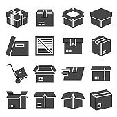 Box, package, parcel, delivery, logistics icon set