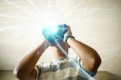 Teenager boys using virtual reality