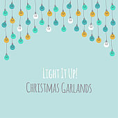 Cute vintage Christmas design with hand drawn light bulb garlands background
