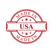 Made in USA label icon with red color emblem on the white background