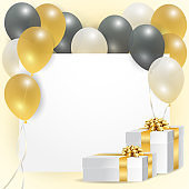 Card with balloons and gift boxes