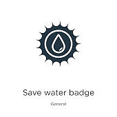 Save water badge icon vector. Trendy flat save water badge icon from general collection isolated on white background. Vector illustration can be used for web and mobile graphic design, logo, eps10