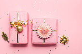 Beautiful Christmas gifts in pink and gold colors