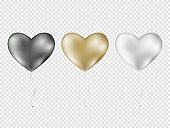 Balloons isolated on transparent background. Vector realistic