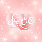 Love text with painting rose pink petal for greeting card