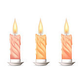 Wax candle, candle burn isolated on white background