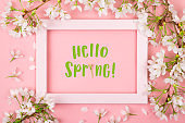 Hello spring text in a pink frame with cherry blossom
