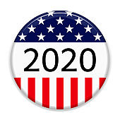 2020 Presidential Elections pin background. Badge for US elections, voting concept vector illustration.