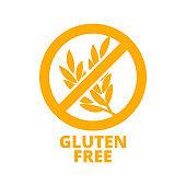 Gluten free icon. Vector round badge