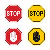 Classic stop sign and stop sign with hand isolated on white background. Vector icon