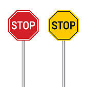 Red and yellow stop sign. Set of two vector realistic signs