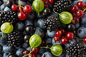 Ripe blackberries, blueberries, blackcurrants, red currants and gooseberries. Mix berries and fruits. Top view. Background berries and fruits. Various fresh summer fruits.