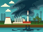Environmental pollution concept vector paper cut illustration