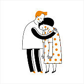 Vector illustration in simple linear style with cute characters - happy couple in love