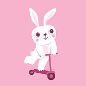 Vector cartoon illustration in simple childish style with rabbit riding scooter
