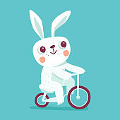 Vector cartoon illustration in simple childish style with rabbit riding bicycle