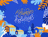 Vector illustration in trendy flat simple style - Happy Holidays