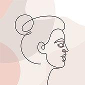 Vector illustration in continuous line style - minimalistic female portrait