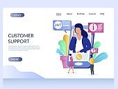Customer support vector website landing page design template