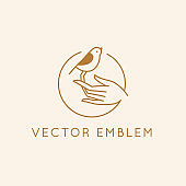 Vector icon and logo design for organic cosmetic products, hand crafted design or beauty studio