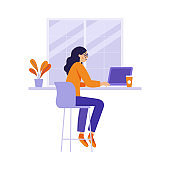 Vector illustration in flat linear style - girl sitting at the table in the coffee shop