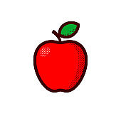 Red apple isolated on white background. Vector illustration