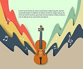 Violin classical music concert poster, vector paper cut illustration