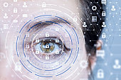 A human eye behind a cyber security system.