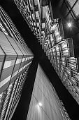 Abstract modern Business buildings in London's Financial District BW