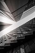 Abstract modern Business buildings in London's Financial District (black and white) - stock image