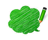 Pencil and hand drawn speech bubble on white background. Banner with doodles of green crayon and place for message.