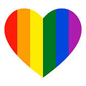 Rainbow heart icon. LGBT flag, symbol.