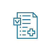 Medication insurance document icon. Pharmacy prescription health care contract. Online doctor. Outline contour blue line.