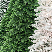 New Year and Christmas decor. Festive background with a texture with different to choose from decorative artificial snow-covered branches of Christmas trees in white and green