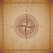 Vector illustration with a vintage compass or wind rose and frame on grunge background.