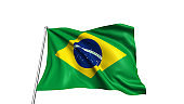 Brazilian flag with fabric structure in the wind