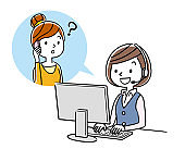 Stock Illustration: call center, woman, lady