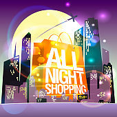 All night shopping sale poster with night shining city