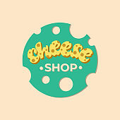 Cheese shop lettering logo design. Vector illustration.