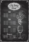 Wine list chalkboard graphic illustration