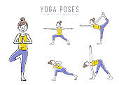 Illustration material: woman, yoga, pose, set, variation