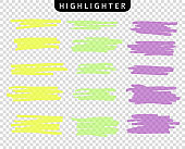 Set of colored strokes markers. Vector highlight brush lines. Hand drawing sketch underlined, stripes. Elements on an isolated transparent background.