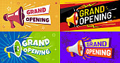 Grand opening banners. Invitation card with megaphone speaker, opened event and opening celebration advertising flyer vector set