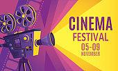Cinema festival poster. Film billboard, retro movie camera and cinema projector cartoon vector illustration