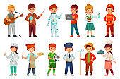 Kids workers. Child professional uniform, policeman kid and baby job professions cartoon vector set