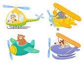Cute animals on air transport. Animal pilot, pet in helicopter and airplane journey kids cartoon illustration set