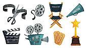 Cartoon film studio. Cinema video camera, movie clapperboard and directors megaphone vector illustration set