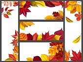 Realistic autumn leaves banners. Yellow garden leafage, flying leaf and fall season banner bundle vector illustration set