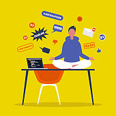 Meditation. Yoga at the office. Harmony and relaxation. Calm male character sitting in a lotus pose on a desk surrounded by the cloud of pop up notifications. Flat editable vector illustration