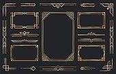 Golden art deco ornaments. Arabic antique decorative gold border, retro geometric ornamental frame and ornate golden corners vector set